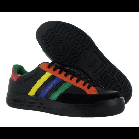 Adidas Nastase Leather Black Retro Rasta Style NWT